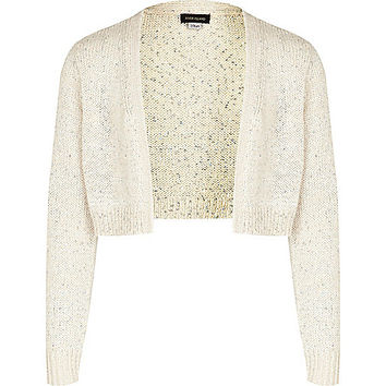 River Island Girls cream sequin shrug
