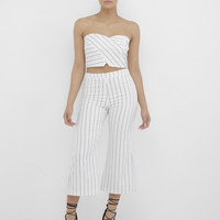 STRIPED FROM THE HEADLINES CULOTTE PANT SET