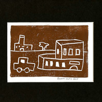 "DETROIT ARTIST COLLECTIBLE One of a kind Block Print brown Handcrafted Urban Landscape ""Mumbleville"" Free Shipping"