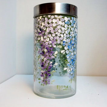 Glass Storage Jar, Glass Canister Jar, Hand Painted, Hydrangea Garden Style.