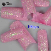 TKGOES 100PCS Beauty Pink French Glitter Nail Tips Pre Design Acrylic Nail Tips Glitter False Nail Art Tips NEW L04