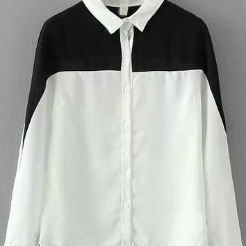 Black and White Lapel Buttons Loose Blouse
