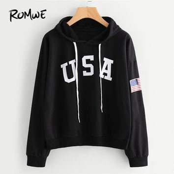 ROMWE Black Letter Flag Printed Drawstring Hoodie Women Casual Spring Autumn New Style Hooded Long Sleeve Pullovers Sweatshirt