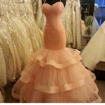 Halter Peach Mermaid Prom Dresses Beaded Peach Long Prom Dresses Vestidos De Festa Vestido Longo