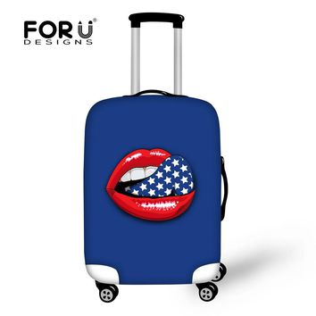 FORUDESIGNS Candy Color Cartoon Sexy Lips Print Luggage Protective Cover Stretch bagage Covers Elastic Suitcase Dustproof Covers