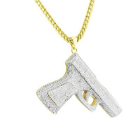 Gun Pistol Weapon Pendant Free Necklace 14k Gold Finish