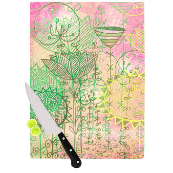 "Marianna Tankelevich ""Pink Dream"" Pink Green Cutting Board"