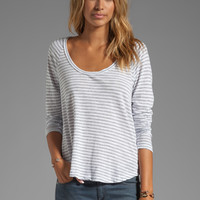 James Perse Slub Stripe Flare Tee in White from REVOLVEclothing.com