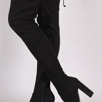 Bella Black Stretch Over the Knee Thigh High Boot
