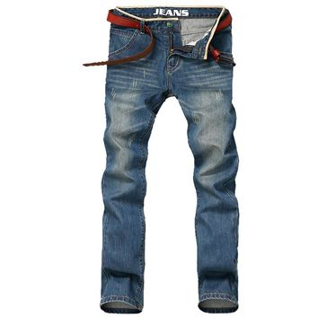 Thoshine 2017 New Man Spring Autumn Jeans Pants Men Fashion All-match Straight Hole Denim Trousers Man Full Length Casual Jeans