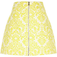 River Island Womens Yellow jacquard zip front skirt