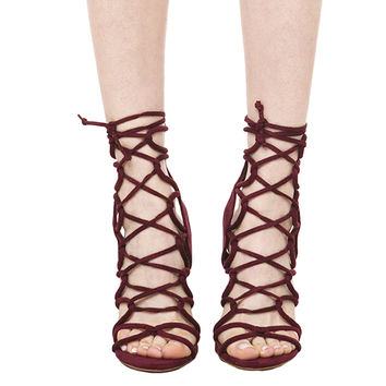 Lace Up Heeled Sandals - Wine Suede