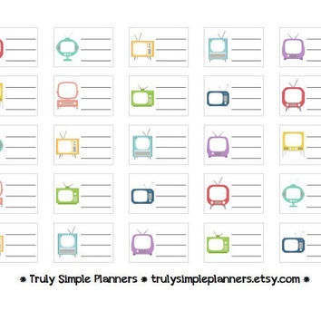 Printable TV Shows Stickers / Erin Condren Life Planner / PDF Instant Download
