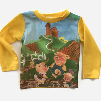 Vintage 70s Three Little Pigs Shirt/ 1970s Kid's Barnyard Pigs Children's Toddler Shirt