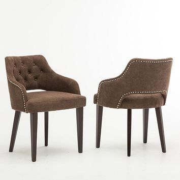 New Century® Set of 2 Contemporary Brown Tufted Microfiber Accent Chairs