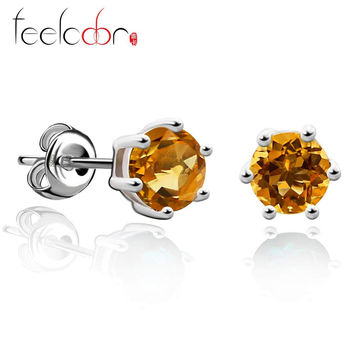 Jewelrypalace Gemstone Natural Citrine Earrings Stud Pure Solid Genuine 925 Sterling Silver 2015 Brand Women Fine Jewelry Gift