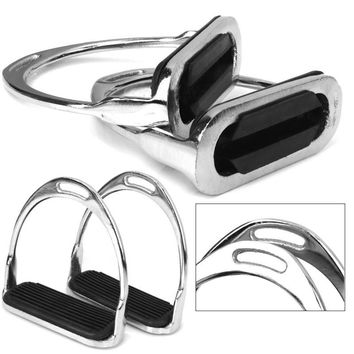 1 Pair Safety Stirrups Horse Riding Rubber Treads