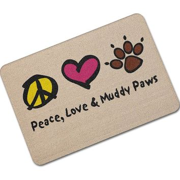 Autumn Fall welcome door mat doormat MDCT Peace Love Muddy Paws Printed Welcome Floor Mats Outdoor Kitchen Hallway s Area Rugs and Carpet Tapete Alfombra AT_76_7