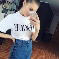 VOGUE summer women's letter printing short sleeve cotton T-shirt