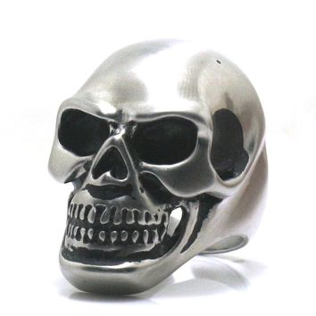 Size 6 to Size 16 Men Boy 316L Stainless Steel Dull Polish Cool Biker Skull Ring Free Shipping
