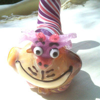 Glass Pipe Cheshire Cat Glow Eyes And Mouth