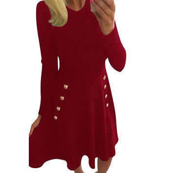 Chicloth Button Side Detail Burgundy Military Skater Dress