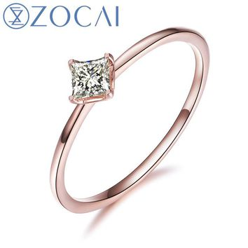 ZOCAI 18K White Gold (Au750) Real 0.11CT H / SI Princess Cut Diamond Engagement Ring W80009T