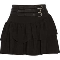 Maje Flux belted crepe mini skirt – 59% at THE OUTNET.COM