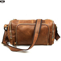 Crazy Horse Leather men bag travel Large capacity fashion duffle