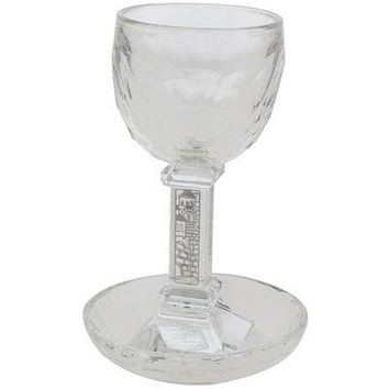 Crystal Kiddush Cup With Stem 16cm- With Jerusalem Plaque