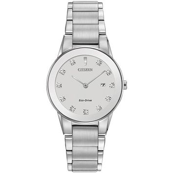 Citizen Eco-Drive Axiom Ladies Diamond Watch - Stainless Steel - Date Display