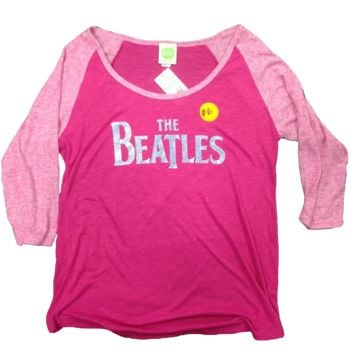 The Beatles Embellished Logo - Womens Pink Flambe Raglan T-Shirt