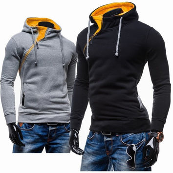 Pullover Hoodies Men Zippers Slim Hats Jacket [6528648451]