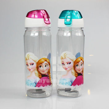 Lovely Elsa My Water Bottle Withstraw Children Cup Princess Anna Elsa Print Cartoon Tumbler with Straw Cute Gift for Children
