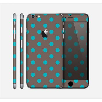 The Gray & Blue Polka Dot Skin for the Apple iPhone 6 Plus