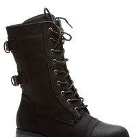 Black Cadet Kelly Faux Leather Textured Lace Up Combat Boots