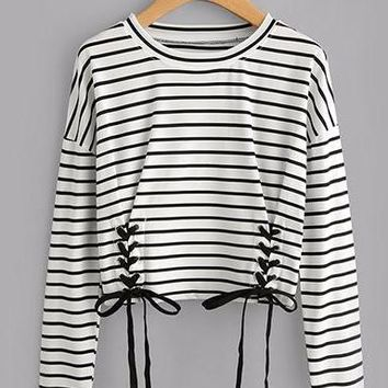 Double Lace Up Striped Longsleeve