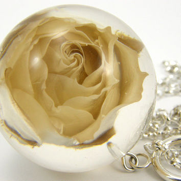 Rose Necklace, White Rose in Large Resin Round with Sterling Silver Chain, Bridal Jewelry