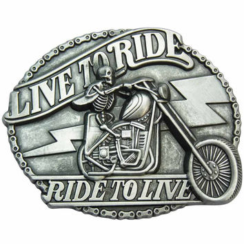 Biker Belt Buckle - Live to Ride Skeleton
