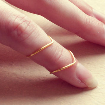Duble Thin Chaveron Golden Knuckle Rings - Free Shipping - Made to order :)