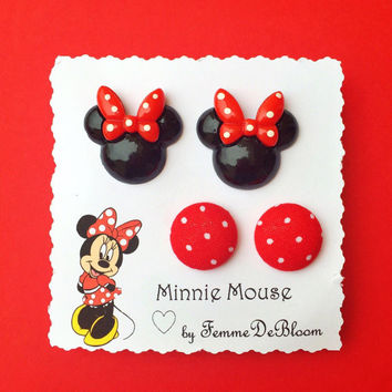 "Handmade Disney ""Minnie Mouse"" inspired Themed Earring Set w/ Red Polka Dot Fabric Button Earrings"