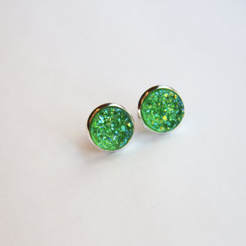 NEW - Green Chunky Faux Druzy Glitter Earrings - Posts/Studs 12mm LARGE