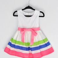 Fashion Baby Girl Dress rainbow Striped Flower Girls Princess Dresses SV002798|28001 Children's Clothing