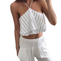Sleeveless Stripe White Chiffon Blouse Ruffle Short Crop Top
