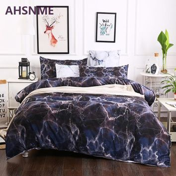 AHSNME Black Marble Patterns Bedding Set American Size Suitable for King Queen Twin Very Soft Quilt Cover Home Textiles