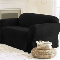 Chezmoi Collection Soft Micro Suede Solid Black Couch/sofa Cover Slipcover w/ Elastic Band Under Seat Cushion