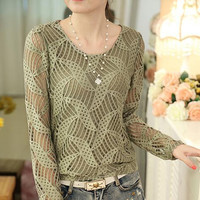autumn new Korean elegant female long sleeve lace tops fashion hollow out stitching casual blouse shirt women clothing