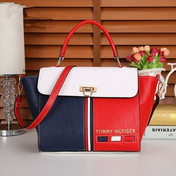 """Tommy Hilfiger"" Personality Fashion Multicolor Stripe Wing Single Shoulder Messenger Bag Women Handbag"