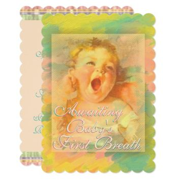 Awaiting first breath baby shower invitation