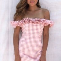 Pink Off The Shoulder Gingham Dress